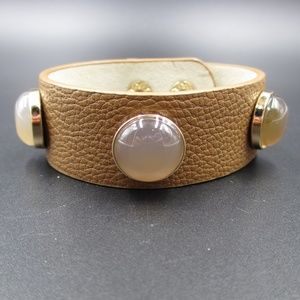 Vintage Cute Stylish Leather & Resin Orbs Bracelet